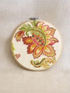 Hoop Art Embroidery, Hand Embroidery, Art, Flower, Floral, Cream, Wall Decor, Wedding, Embroidered Flowers,Flowers,Handmade,Wil Shepherd