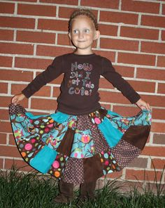 My new FREE sewing tutorial on how to make a simple little patchwork twirly skirt!