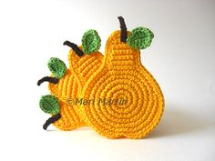 Yellow Pear Crochet Coasters . Green Leaves Beverage Drink Juice Mustard Decor Crochet Fruit Collection - Set of 4