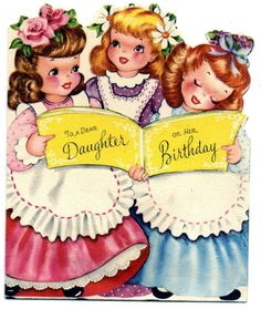 vintage card - 3 little girls holding a book