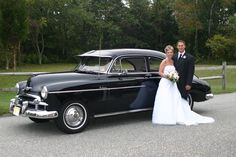 Bride and Groom. Classic Car