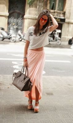 Chic Barcelona Coral Drape High And Low Maxi Skirt - Beautiful Clothes Photo