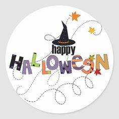 Shop Happy Halloween Classic Round Sticker created by Personalize it with photos & text or purchase as is! Halloween Party Supplies, Halloween Bags, Halloween Quotes, Halloween Stickers, Halloween Skeletons, Halloween Party Decor, Scary Halloween, Halloween Themes, Halloween Crafts