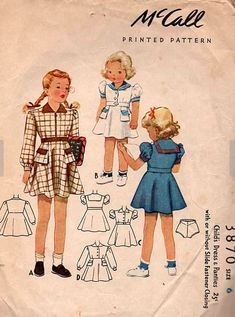 McCall 3870: Child's dress and panties from the year 1940