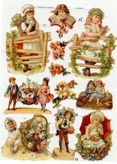 Kinder Blumen Tauben - Decoupage Scrap Papier Vintage Glanzbilder - Victorian