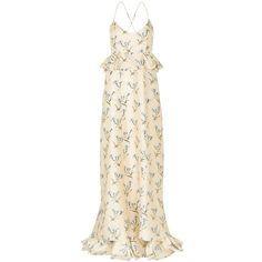 Suno Violet Stems Peplum Maxi Dress ($2,110) ❤ liked on Polyvore