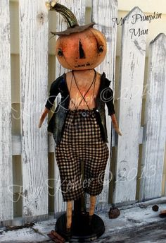 Mr Pumpkin Man Primitive Doll Pattern Digital and Mailed $13.00