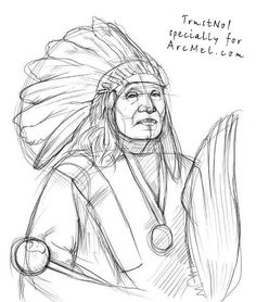 Before drawing an Indian I would like to tell you a little about Indians. An Indian is our red-skin brother. He was called so because of Columbus' mistake Indian Drawing, Eagle Drawing, American Indian Art, Native American Indians, Illusion Drawings, Indian Art Paintings, Black And White Drawing, Step By Step Drawing, Paint Party