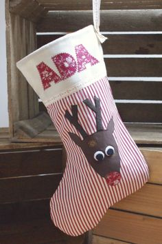 Personalised Reindeer Christmas Stocking via Emily Carlill