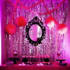 Love the look of this dessert table!  It's amazing how decorating a single wall can make all the difference and set the theme! www.pureromance.com.sarahamatthews