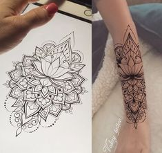 Henna tattoo flower template in Indian style. Mandala Tattoo Design, Forearm Mandala Tattoo, Forearm Sleeve Tattoos, Tattoo Designs, Neue Tattoos, Body Art Tattoos, Tatoos, Henna Inspired Tattoos, Tatuagem Diy