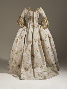 Metallic Trimmed Silk Faille Robe a la Française, ca. 1760-65