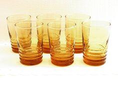 upside down as pendant lights  Vintage Amber Orange Juice Drinking Glasses Set of by Madeinthe50s, $12.50
