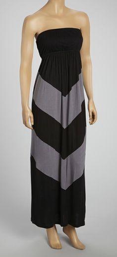 Charcoal & Black Chevron Strapless Maxi Dress