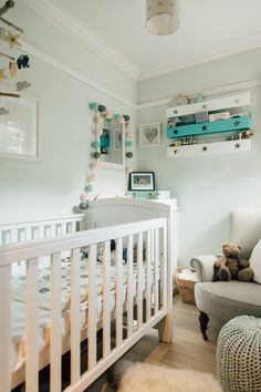 Baby Boy Nursery Painted In Farrow And Ball Cabbage White | Baby Boy Nursery In A Modern Country Home | Elle Feathering The Empty Nest Home Tour Baby Boy Nursery Themes, Baby Boy Rooms, Baby Boy Nurseries, Nursery Ideas, Nursery Room, Country Babys, Kids Bedroom Furniture, Kitchen Furniture, Furniture Cleaning