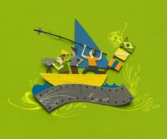 cut paper illustrations for cinema do brasil by Gustavo Peres