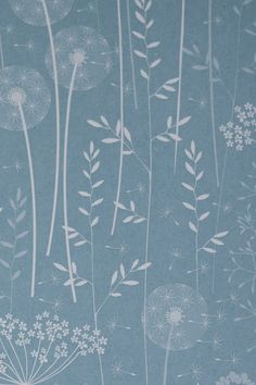 Paper Meadow Wallpaper  Teal SAMPLE by Hannahnunn on Etsy, £1.00