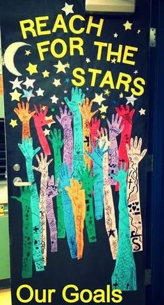 Second Grade Thrills: First Day Goal Setting-beginning of school year OR January Space Classroom, Classroom Bulletin Boards, Classroom Themes, School Classroom, Classroom Organization, Classroom Management, Classroom Door Displays, Classroom Door Decorations, Art Classroom Door
