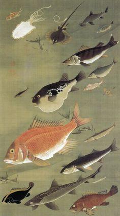 Fish-Red Snapper 142.3×78.9cm Ito Jakuchu (1716-1800)