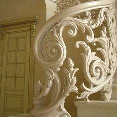 ornate staircase in paris interesting in white