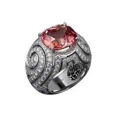 High Jewellery ring High Jewellery Cartier Royal ring, platinum, one cushion-cut padparadscha sapphire (8.89 carats) from Ceylon, brilliant-cut diamonds.