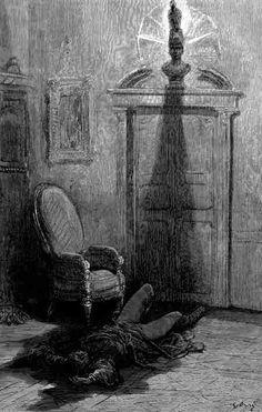 'E minh'alma, daquela sombra que jaz a flutuar no chão, levantar-se-á - nunca mais!' (Ilustração de Gustave Doré)