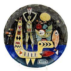Polychroom geglazuurde aardewerk schaal met abstracte decoratie ontwerp Toine Corstjens 1959 uitvoering de Sphinx / Maastricht