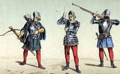 "Castilian crossbowman and two ""espingarderos"" (early hand-gunners). 15th. Century. Ballestero y espingarderos, siglo XV."