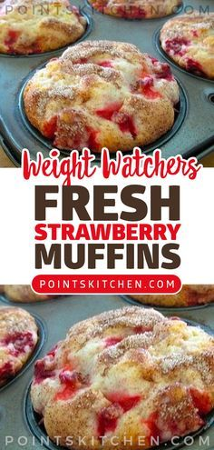 Fresh Strawberry Muffins Easy Recipe strawberry muffins fresh easy dessert snack wwrecipes ww weightwatchers weight watchers ketogenic lowcarb slimmingworld is part of Strawberry muffins - Weight Watcher Desserts, Muffins Weight Watchers, Petit Déjeuner Weight Watcher, Plats Weight Watchers, Weight Watchers Breakfast, Weight Watchers Diet, Diet Breakfast, Weight Watchers Cupcakes, Morning Glory Muffins