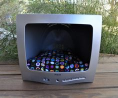 Upcycled TV Pet Bed - Repurposed for Small Cat or Dog - Recycled Pet House with Pillow- Retro - Mod - Pet Bed TV