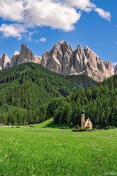Funes - Villnöss, Santa Maddalena church of S. John of Ranui, Dolomites, Italy