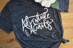 Adventure Awaits Graphic Tee ((Black Marble V-Neck) by ElleAndZo on Etsy