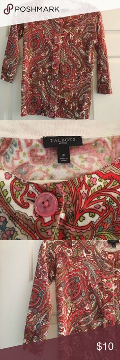 Talbots Petite 1/4 Length Sleeve Talbots Petite Light Weight Paisley 1/4 Length Sleeve Sweater in Excellent condition Talbots Sweaters Cardigans