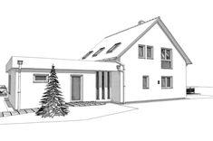 ELK Haus 153 mit Büro Anbau & Zwerchgiebel - ELK Fertighaus | HausbauDirekt Living Haus, Sweden House, Modern House Plans, House 2, Villa, Floor Plans, Plane, Collection, Modern Houses