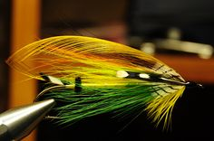 Green Highlander Hairwing classic salmon fly - Tied by Jim Montgomery