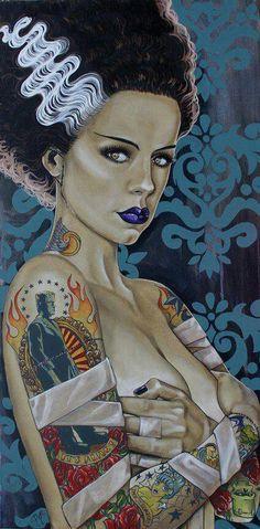 Bride of Frankenstein pin-up art