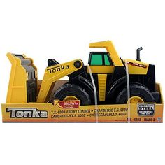 Tonka - T.S. 4000 Front Loader by unknown. $52.99. Tonka T.S. 4000 Front Loader was designed to dig, dump, and haul. With its large working bucket, deep cleated tires, and heavy-duty steel construction, this solid truck is guaranteed for life and built for endless hours of fun in the sandbox or yard.