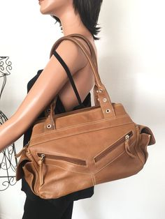 Tignanello Leather Bag Designer Fashion Women Honey Brown  #Tignanello #Hobo