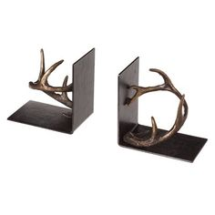 Loon Peak Cast Metal Wine Holder Book Ends Decorative Pillows, Decorative Plates, Metal Casting, Best Christmas Gifts, Joss And Main, Antlers, Craftsman, Bookends, Beautiful Homes
