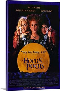 Hocus Pocus poster on canvas. Seriously, the one on the left creeps me out in the movie!