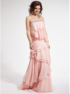 A-Line/Princess Strapless Floor-Length Chiffon Prom Dress With Beading Cascading Ruffles (018019423) - JJsHouse