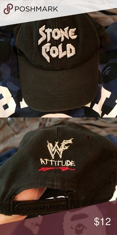Vintage WWF Stone Cold Steve Austin dad hat I am selling a vintage World Wrestling Federation (before WWE) dad hat. It has Stone Cold on the front and WWF Attitude on the back. It has been worn but looks like the vintage hats sold in stores condition wise. WWF Accessories Hats