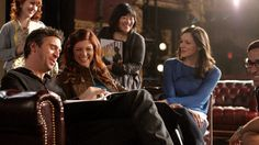 Jack Davenport, left, Debra Messing, Ann Harada and Katharine McPhee enjoy a light moment between filming the season finale. #Smash