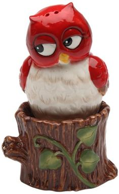 Mini Tan Christmas Owls in Santa Caps Salt /& Pepper Shaker Set