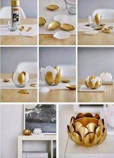 DIY plastic spoons vase or votive is a great accent piece for bookshelves and side tables
