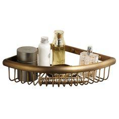 MARMOLUX ACC 34512CO-S Corner Basket Bathroom Shower Storage Holder Caddy Shelf ,Brass Wall Mounted-Antique Brass Finish * See this great image  : Corner Shelves