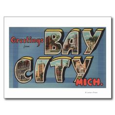 """Greetings from Bay City, Mich."" vintage postcard"