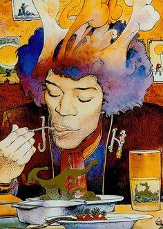 Jimi Hendrix by Moebius