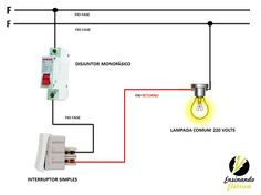 Elétrica Residencial Interruptores - Ensinando Elétrica | Dicas e Ensinamentos Circuit Diagram, Electrical Wiring, Mechanical Engineering, Electronics Projects, Power Strip, Architecture, Blog, Oliver Wood, Window
