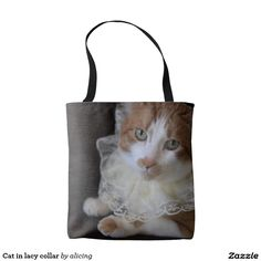 Cat in lacy collar - a very special bag for a cat lover to use for shopping, as a carry-all or just to stash kitty toys.